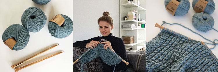 Wolldecke selber stricken - blau weareknitters - DIY Blog Berlin