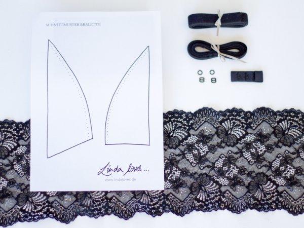 Inhalt schwarzes Sptizen Bralette DIY Material Set - Schwarzes Spitze, Gummi, Verschluss, Schnittmuster