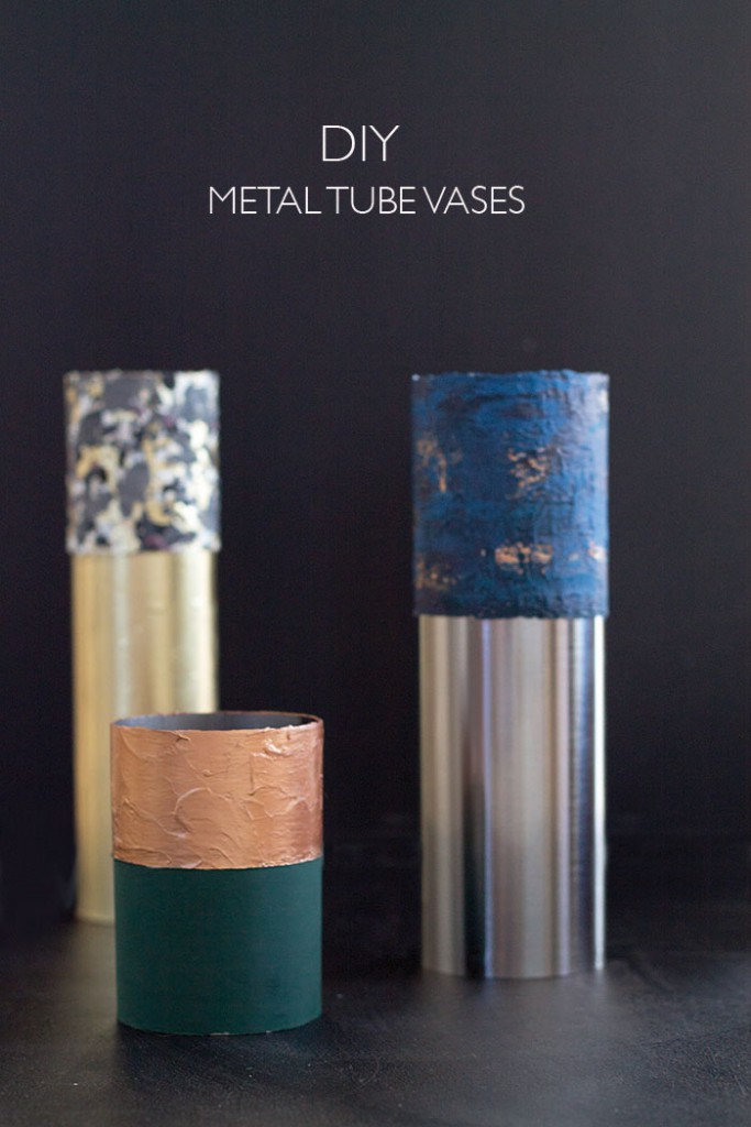 How to DIY those metal tube vases with copper, gold or silver and a colored top...now on lindaloves.de