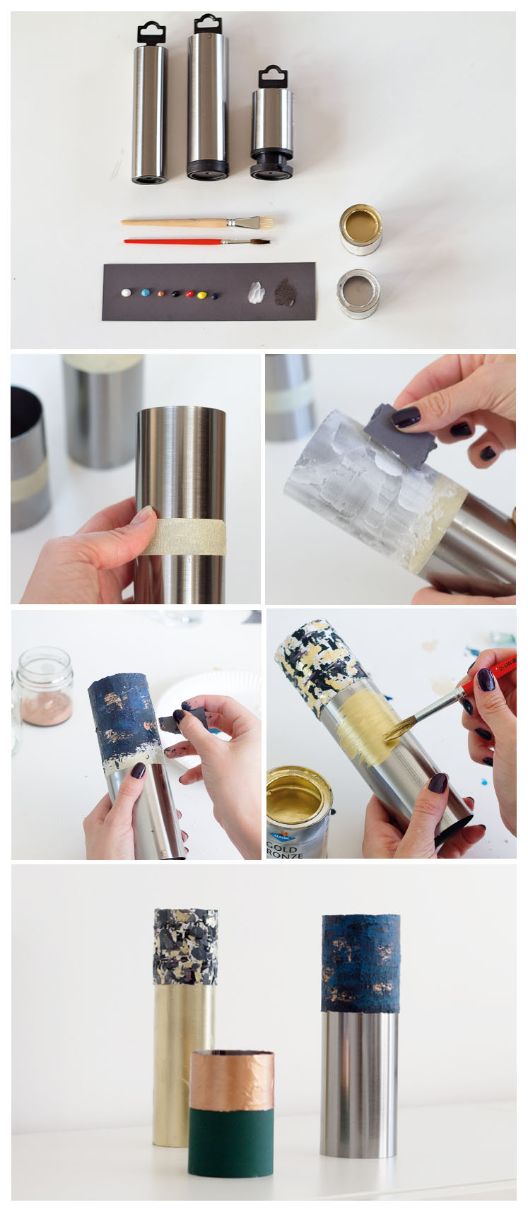 DIY metal tube vases with acryl colors and metal tubes in copper, gold and silver