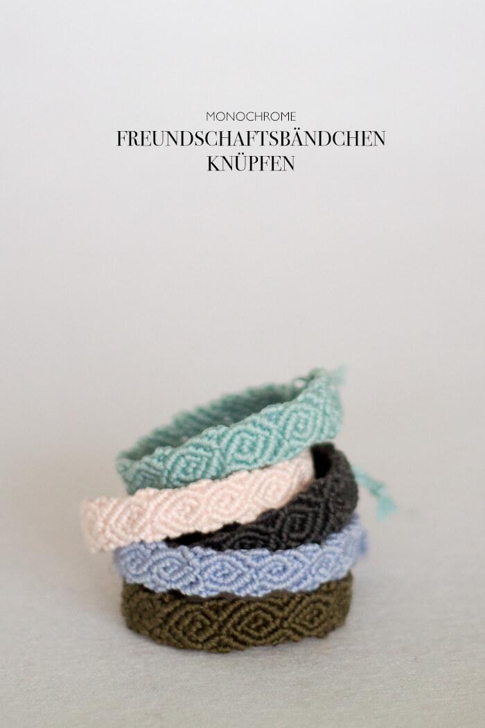 monochrome Freundschaftsbändchen knüpfen - Armbändchen selber machen - DIY Blog lindaloves.de