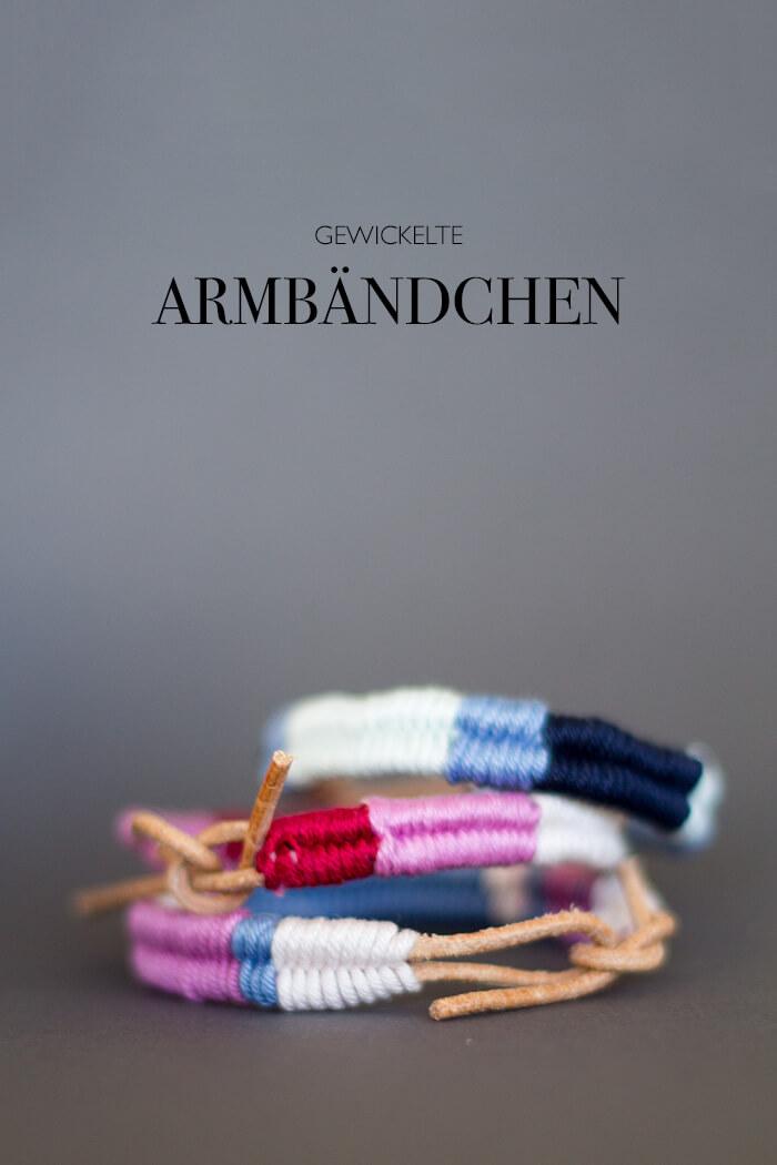 Gewickelte Armbändchen mit Lederband, Wolle & Garn: Freundschaftsarmbändchen als DIY Projekt - gut zu kombinieren mit Silber- und Goldschmuck