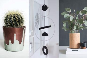 Home Deco DIY Ideen tolle Accessoires für die Wohnung, Inneneinrichtung Dekoration: Vase aus Kork oder Fimo, Mobile mit tollen Materialien, Doppelglasrahmen, Blumentopf aus Kupfer, Letter Box