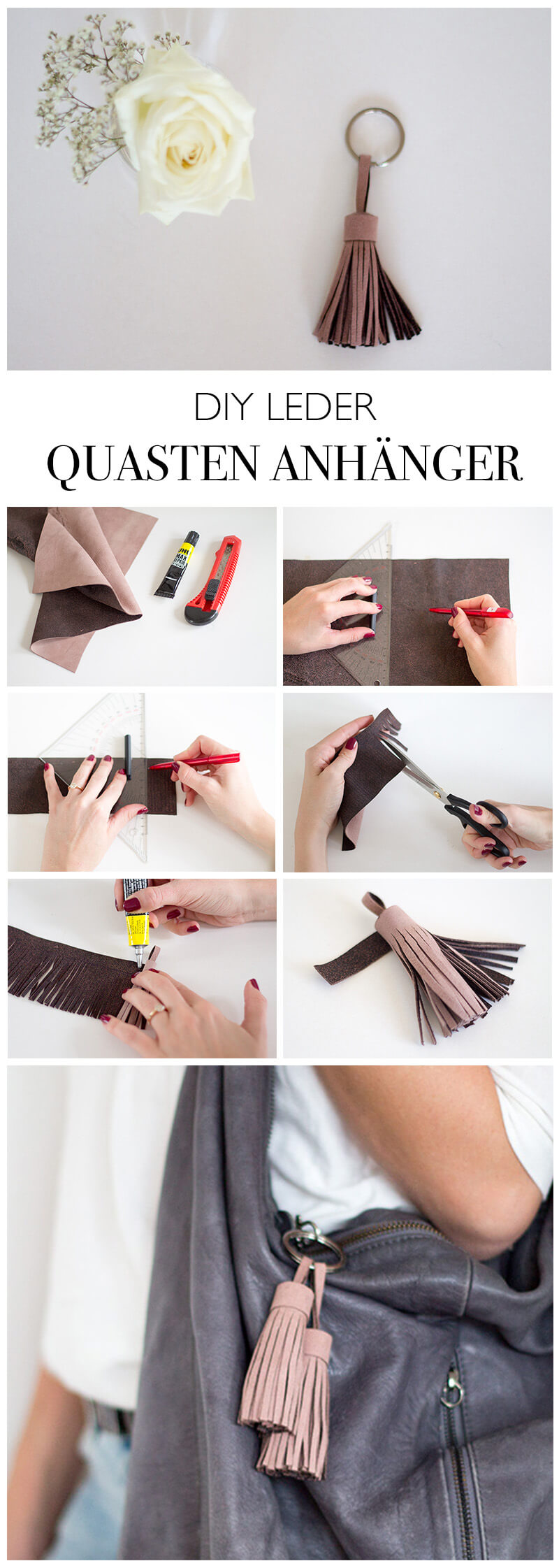 DIY LEDER QUASTEN ANHAENGER basteln - Geschenke selber machen - DIY Blog lindaloves.de