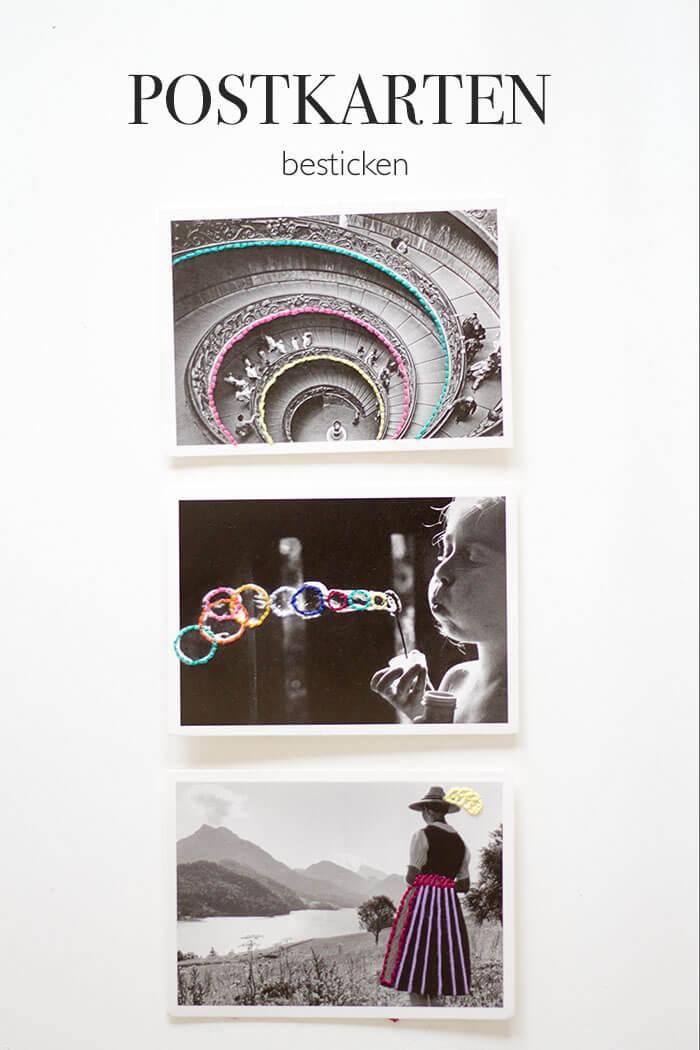 DIY Postkarten besticken - lindaloves.de - Geschenke selber machen