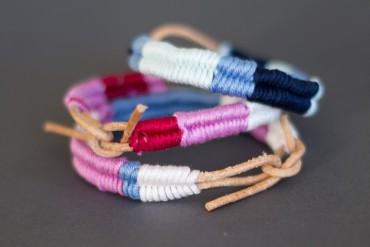 Armbändchen aus Leder umwickelt mit Garn oder Wolle - DIY Blog