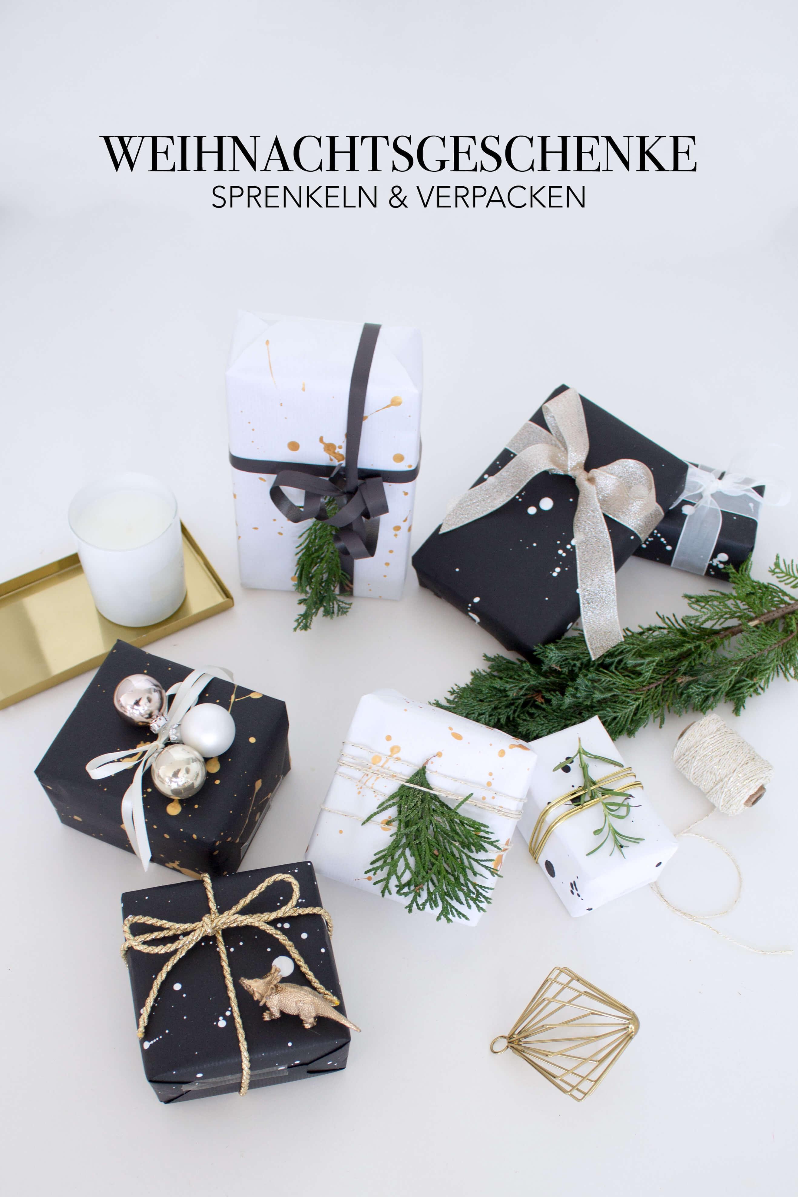Weihnachtsgeschenke verpacken mit Sprenkeln in weiß gold schwarz - DIY Blog lindaloves.de