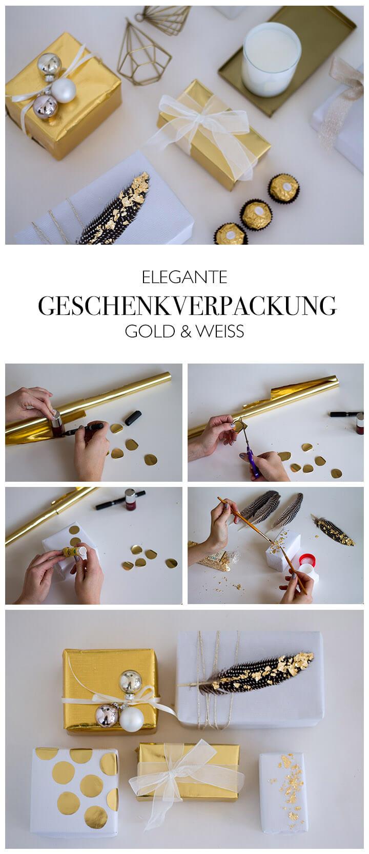DIY Geschenkverpackung gold weiß - elegante Kombination für Weihnachten DIY Anleitung für ein paar schöne Accessoires und Hingucker