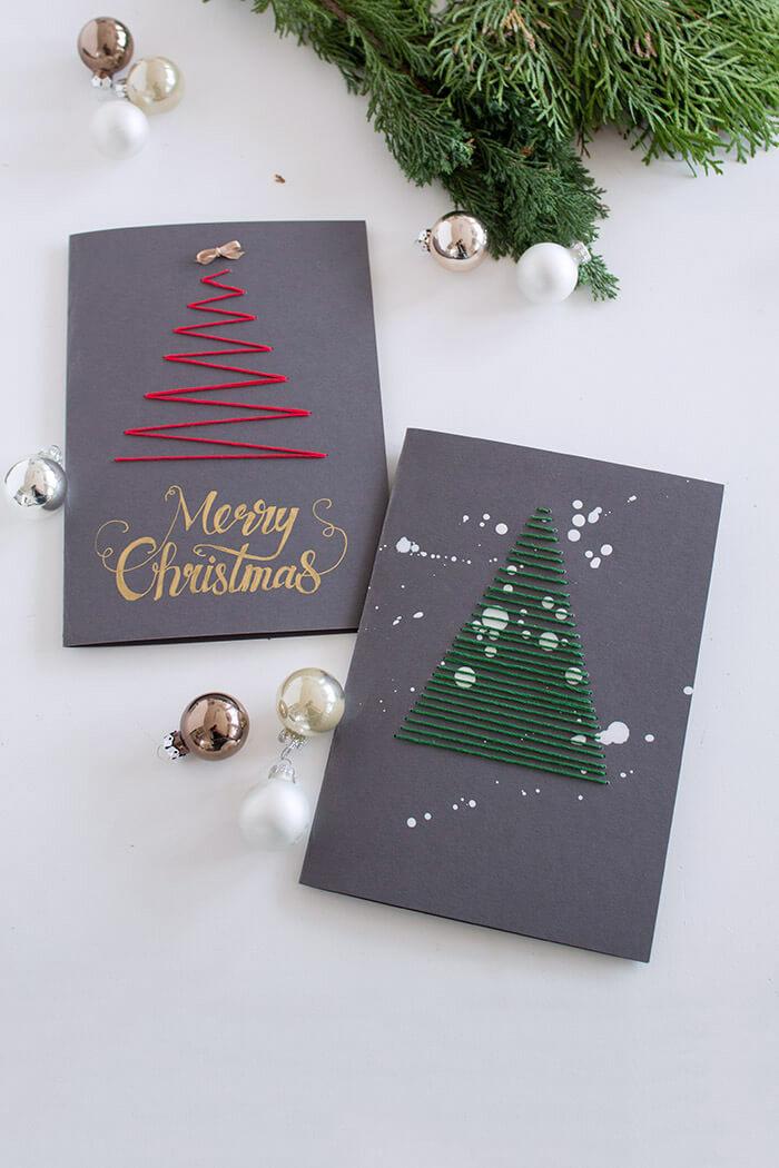 DIY bestickete Karten zu Weihnachten