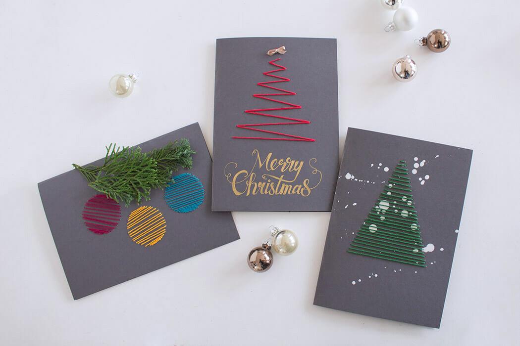 Anleitung Postkarten besticken für Weihnachten - Stickideen - Geschenkideen DIY Blog