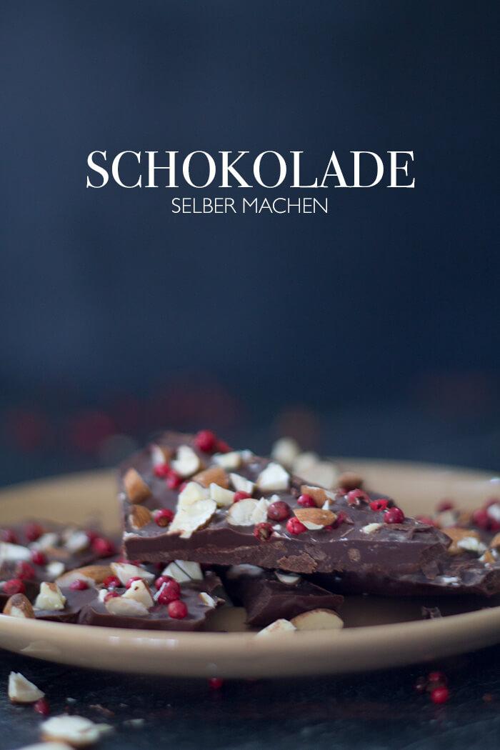 DIY Schokolade selber machen mit Mandeln und rotem Pfeffer - DIY Geschenk für sie
