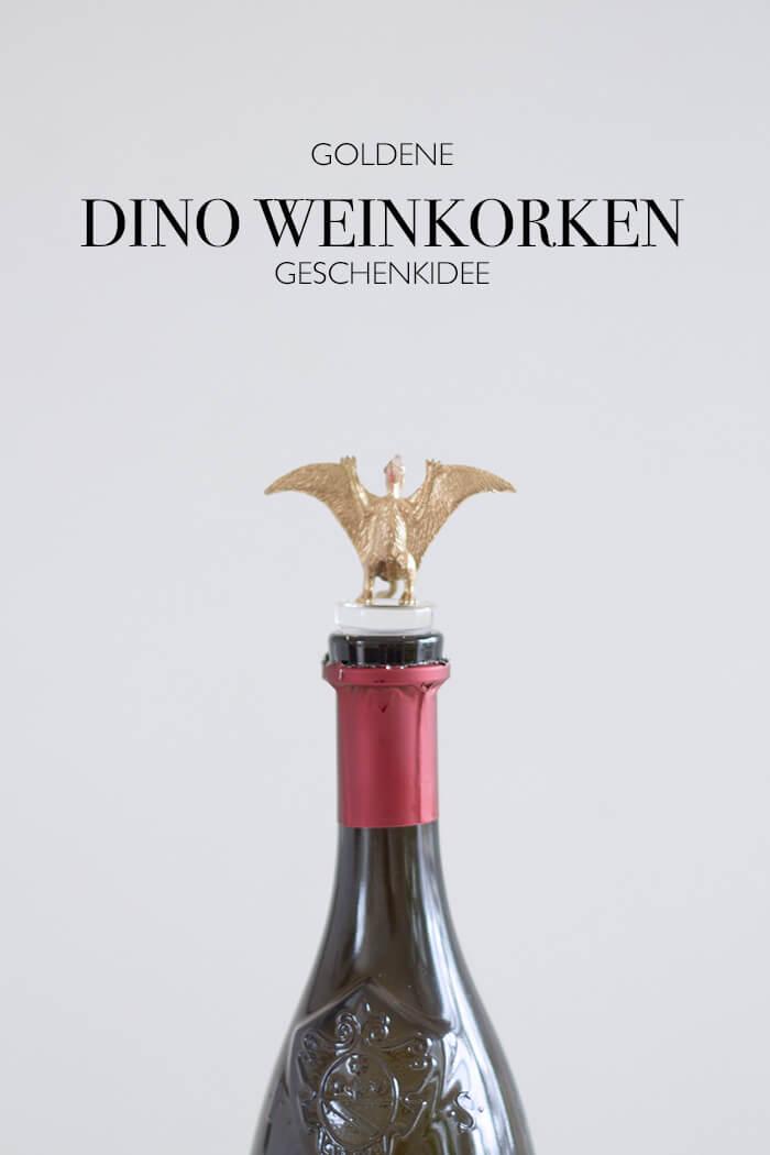 Geschenkidee goldene Dinos als Weinkorken - Geschenke für ihn - DIY Blog lindalovesde