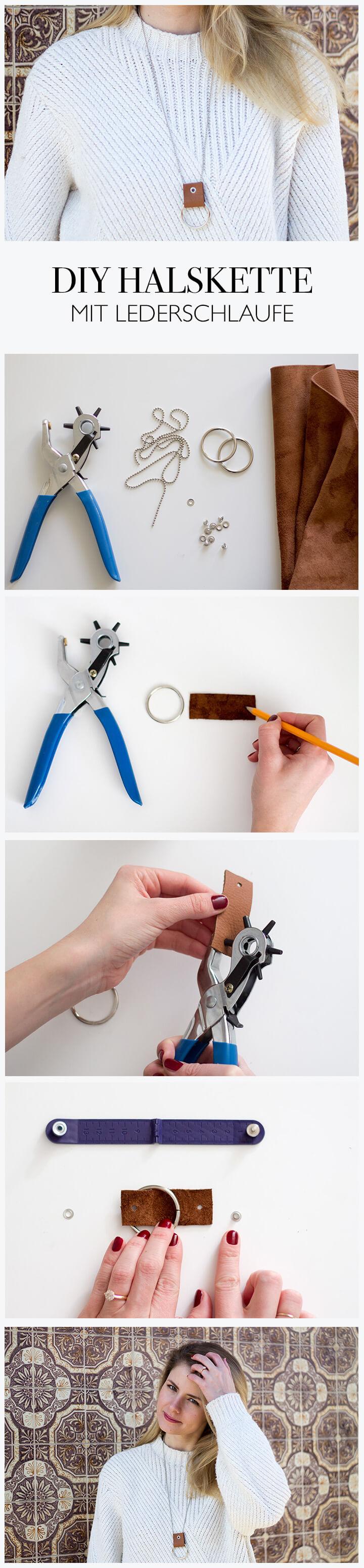 DIY Schmuck basteln - Halskette mit Lederschlaufe selber machen - lindaloves.de DIY Blog aus Berlin Fashion do-it-yourself