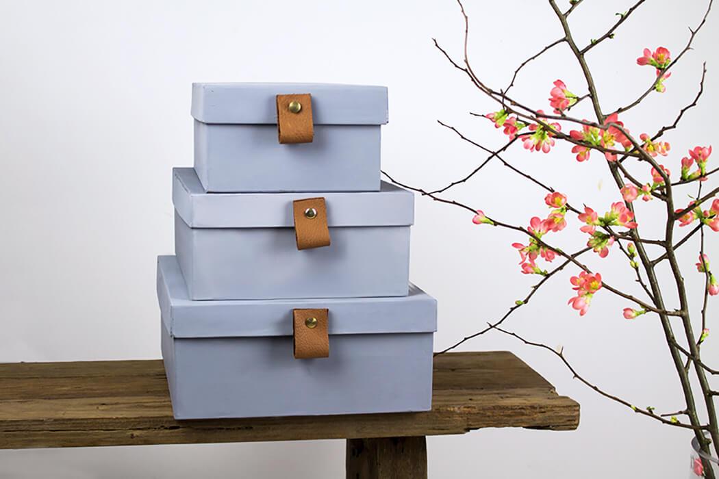 D I Y graue Boxen mit Lederriemen für mehr Ordnung und Stauraum - DIY Blog Lindaloves.de