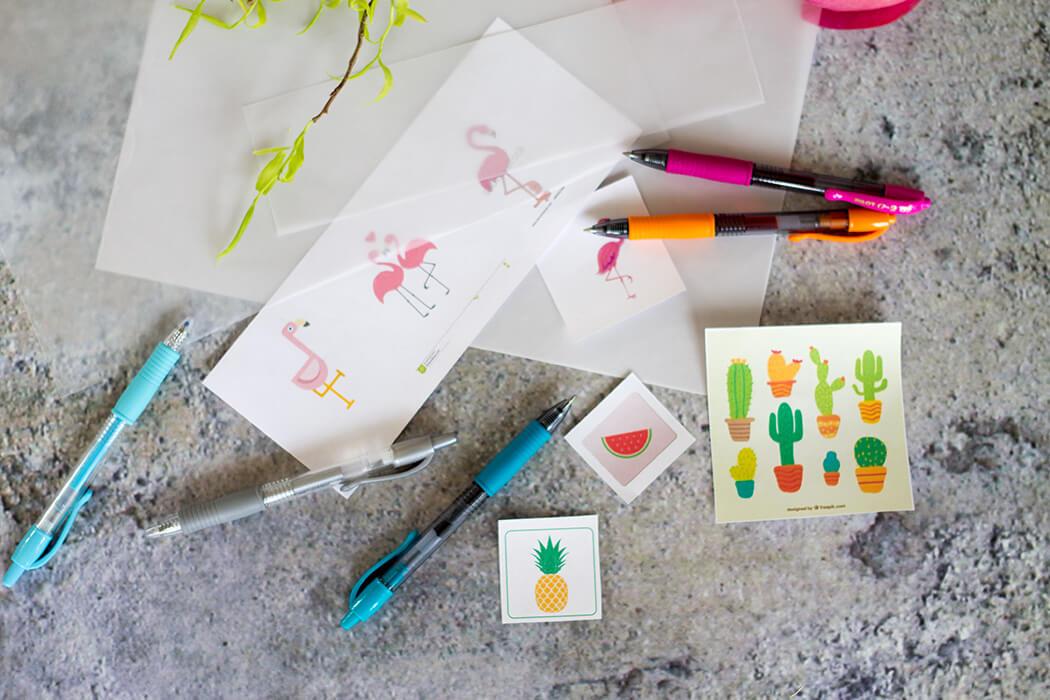 Material für Tischkarten mit Sommermotiven zum abmalen mit Gelpens - DIY Blog lindaloves.de