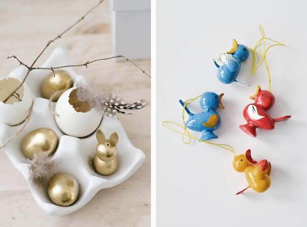 Osterdeko Kueken in gold - vorher nachher - DIY Blog sinnenrausch
