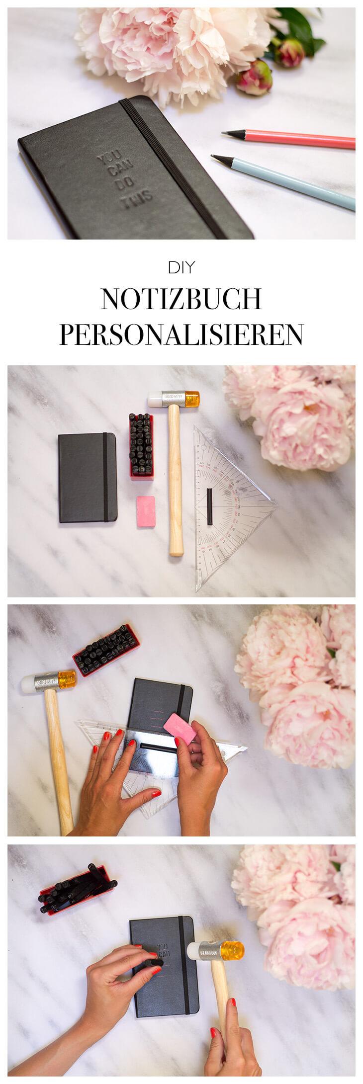 DIY Geschenk selber machen Anleitung Notizbuch personalisieren mit Prägebuchstaben - DIY Blog lindaloves