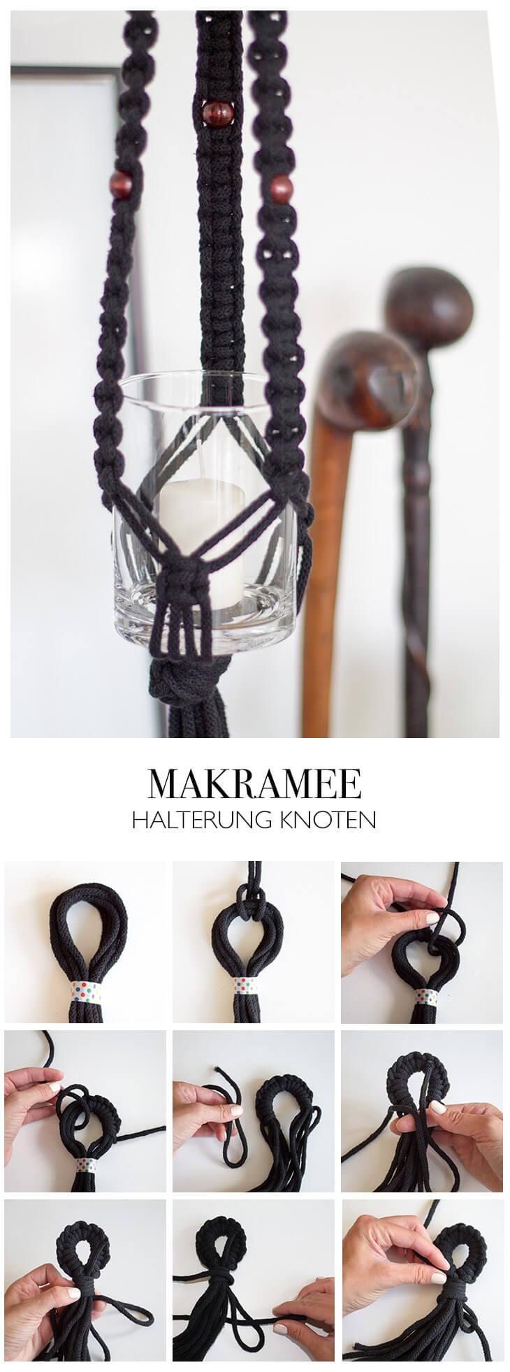 Makramee Halterung knoten Buchtknotenschlaufe DIY Blog lindaloves.de