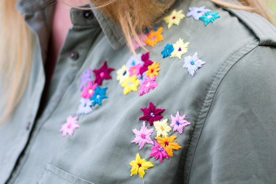 Blumen sticken Bluse Closeup - DIY Blog lindaloves