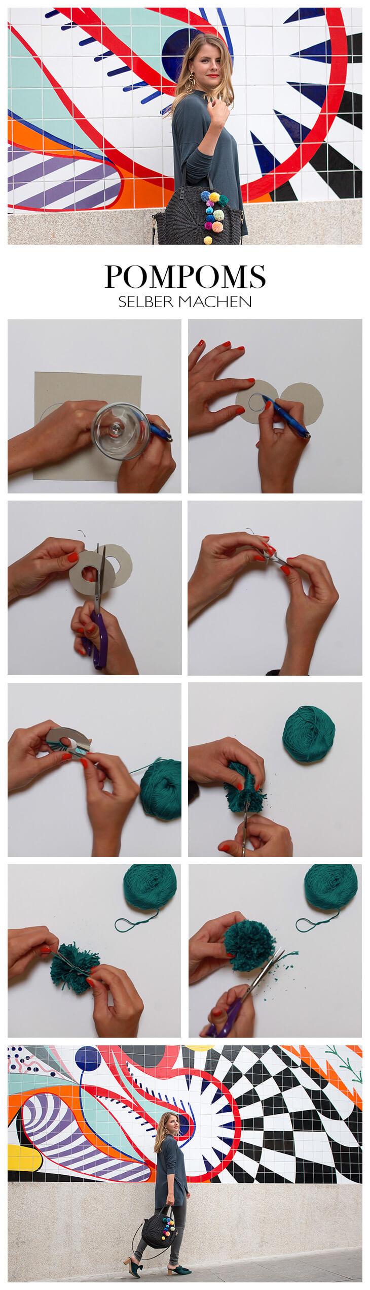 Pompoms basteln DIY Anleitung Anhänger für Handtasche