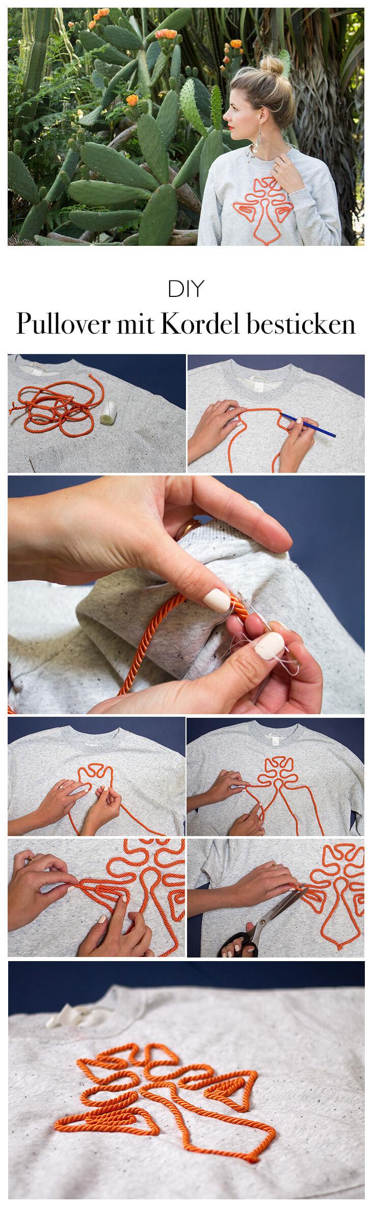 DIY Anleitung Pullover mit Kordel besticken - DIY Fashion Mode Blog