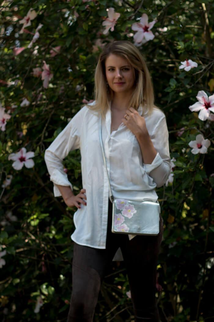 Handtasche bemalen- Blumenmuster Anleitung - Acrylfarben - DIY Fashion Blog lindaloves.de