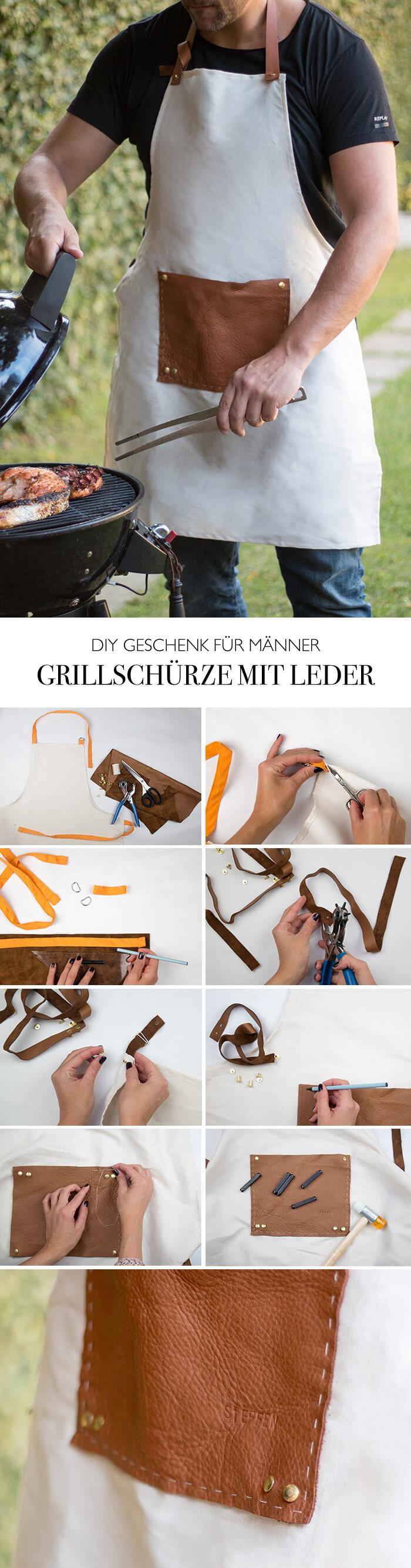 DIY Geschenk für Männer - Grillschürze selber machen mit Leder DIY Blog lindaloves.de