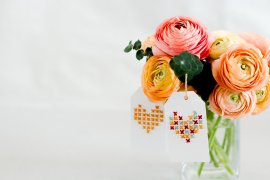DIY Muttertag Geschenkkarte basteln selber machen Kreuzstich Herz Blumen Muttertagsgeschenk DIY Blog