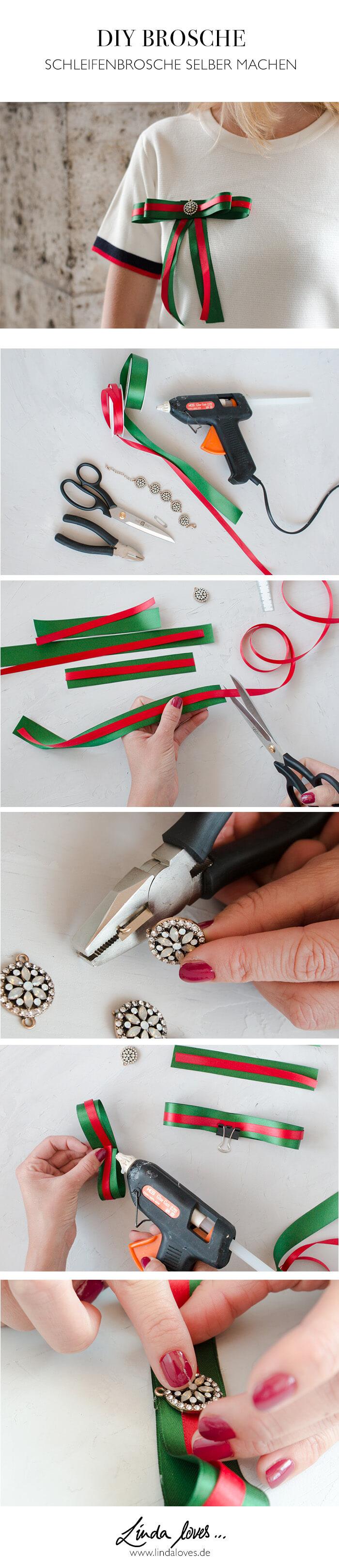 Schleifenbrosche selber machen - Accessoire DIY aus Geschenkbändern - DIY Blog lindaloves.de