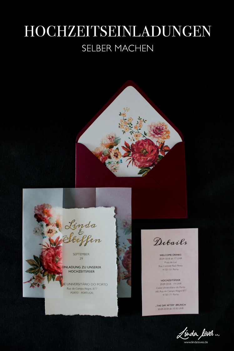 DIY Hochzeitseinladungen selber machen - Einladungskarten basteln - Herbsthochzeit - Transparent und Blumenmuster