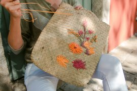 DIY Raffiabast Tasche Besticken 9